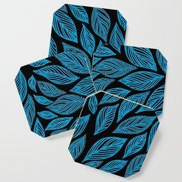 Blue Grey Leaves Pattern on Black Coaster