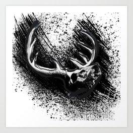 Deer Skull Inksplash Art Print