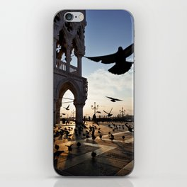 Sunrise at San Marco Square, Venice, Italy. Pigeons flying near the Doge`s Palace. iPhone Skin