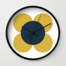 Scandi Flower Single - Retro Minimalist Floral Pattern in Light Mustard, Navy Blue, and White Wall Clock