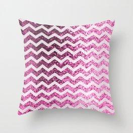 Glitter Sparkly Bling Chevron Pattern (pink) Throw Pillow