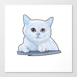 blue cute cat furniture Design by diegoramonart Canvas Print
