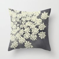 flora Throw Pillows featuring Black and White Queen Annes Lace by Erin Johnson