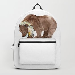 Bear with flower boa Backpack