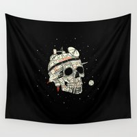 brad pitt Wall Tapestries featuring Planet Space Skull  by Josh Ln