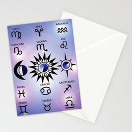 Zodiac Signs with The Moon The Sun and a Star Stationery Cards