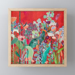 Red floral Jungle Garden Botanical featuring Proteas, Reeds, Eucalyptus, Ferns and Birds of Paradise Framed Mini Art Print