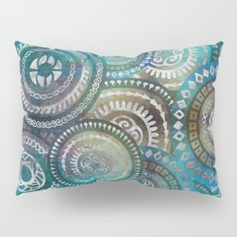 Gentle Blue Circular Tribal  pattern with silver Pillow Sham