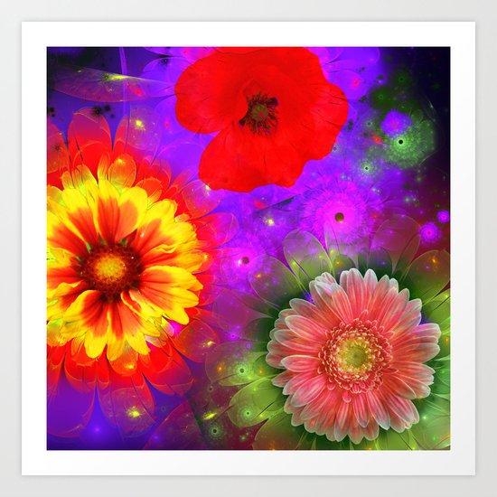 Summer flowers in a colourful fantasy garden Art Print