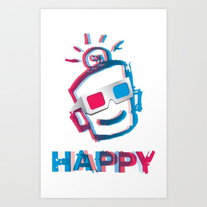 3D HAPPY Art Print
