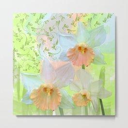 Artistic water colour, grunge swirls and daffodils Metal Print