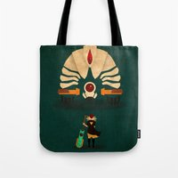 transistor Tote Bags featuring Red vs Jerk by Llamasaurus