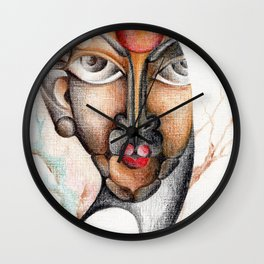 A calm and peaceful facial expression Wall Clock