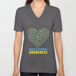 Down syndrome awareness design with ribbon heart Unisex V-Neck