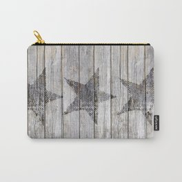 Grunge Star on old weathered grey wood Carry-All Pouch