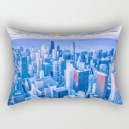Blue Chicago Skyline Rectangular Pillow