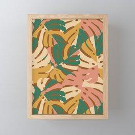 Monstera Leaves - Gold - Green - Pink Framed Mini Art Print