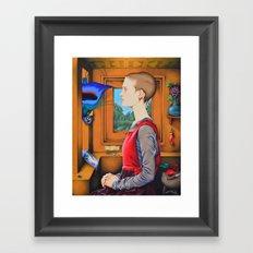 Portrait of a Woman with a Bird at a Casement Framed Art Print