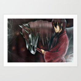 Demon Horse+ Samurai. Art Print