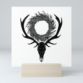 Scottish Red Deer Skull with Heather and Thistle Wreath Mini Art Print