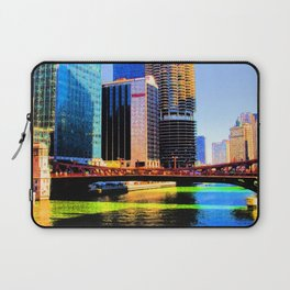 Clark St. Bridge, Chicago (Pop) Laptop Sleeve