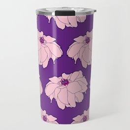 Pink Dahlia Flower Illustrated Print Travel Mug