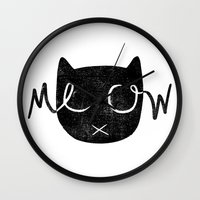 meow Wall Clocks featuring Meow by Laura O'Connor