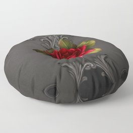Gothic Glamour Red Rose Black Ornamental Glam Floor Pillow