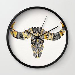 Water Buffalo Skull – Black & Yellow Wall Clock