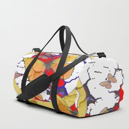 YELLOW  BUTTERFLIES IN WHITE & RED ABSTRACT Duffle Bag