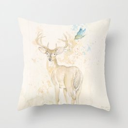 Deer and butterfly Throw Pillow