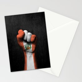 Peruvian Flag on a Raised Clenched Fist Stationery Cards
