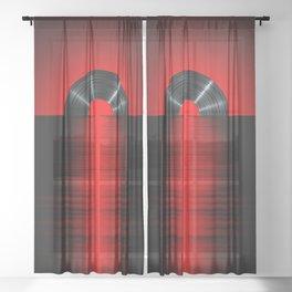 Vinyl sunset red Sheer Curtain