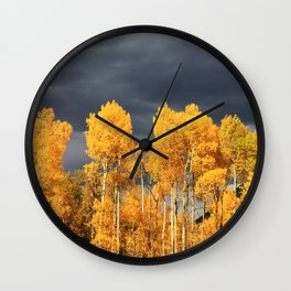 Golden Aspens and an Impending Storm Wall Clock