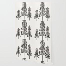Pine Trees – Black Ink Wallpaper