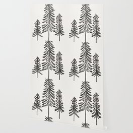 Pine Trees – Black Ink Wallpaper