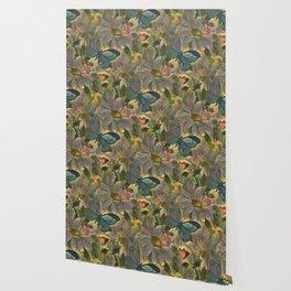 Painterly Flowers and Butterflies Wallpaper
