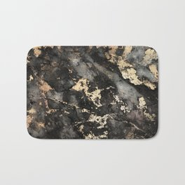 Gold Vein Black Marble Design Bath Mat