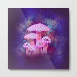 Pink Glowing Mushrooms Metal Print