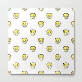 Angry Emoji Graphic Pattern Metal Print