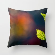 Leaves in a colorful world Throw Pillow