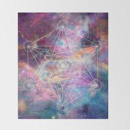 Watercolor and nebula sacred geometry  Throw Blanket