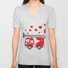 Valentine's Day Firetruck Hearts Gift Kids Boys Unisex V-Neck