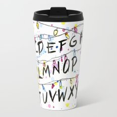 Stranger Things Alphabet Wall Christmas Lights Typography Travel Mug