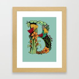 Flowery Illuminated Letter B Framed Art Print