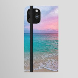 Aerial Photography Beautiful: Turquoise Sunset Relaxing, Peaceful, Coastal Seashore iPhone Wallet Case
