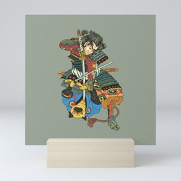 Samurai and Pug Mini Art Print