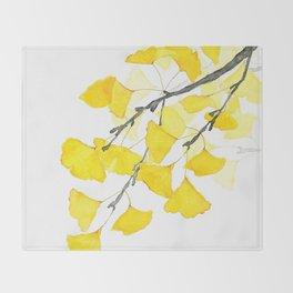 Golden Ginkgo Leaves Throw Blanket
