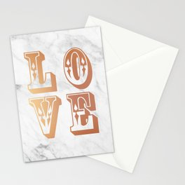 Rose Gold Marble Love Circus Typography Print Stationery Cards