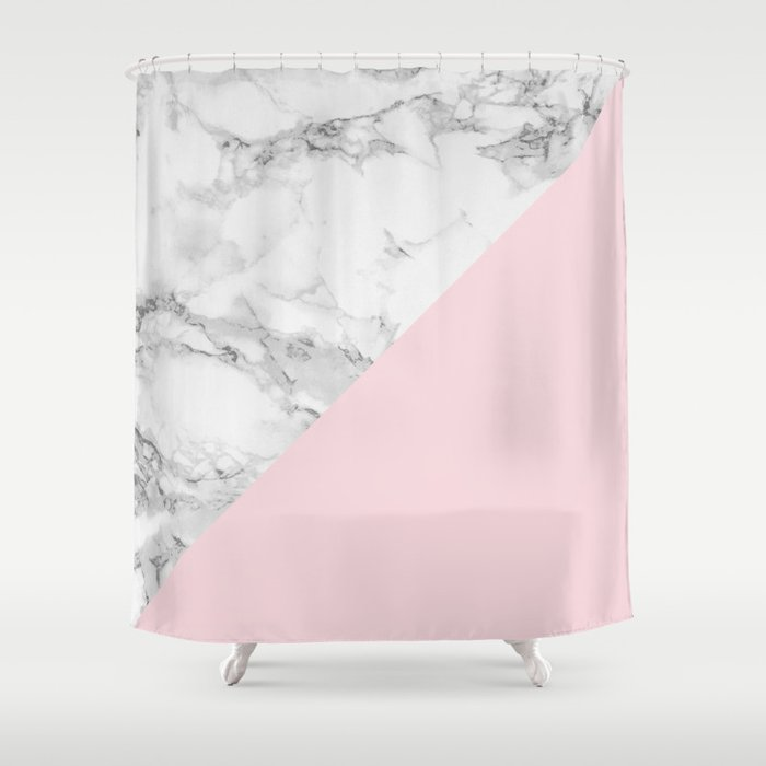 Marble Pastel Pink Shower Curtain By Colorandpatterns